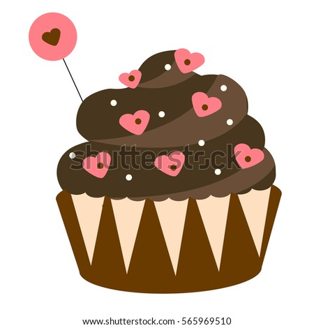 St Valentine's day, romantic, love chocolate cupcake. Design elements, icon, illustration. Sweet bakery with heart shape sprinkles