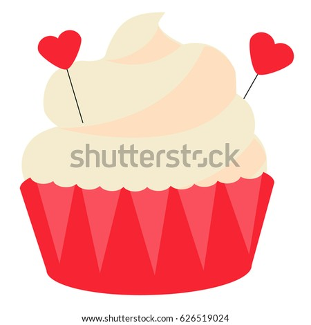 St Valentine's day, romantic, love cupcake. Design element, icon, vector illustration. Sweet bakery with heart shape decoration