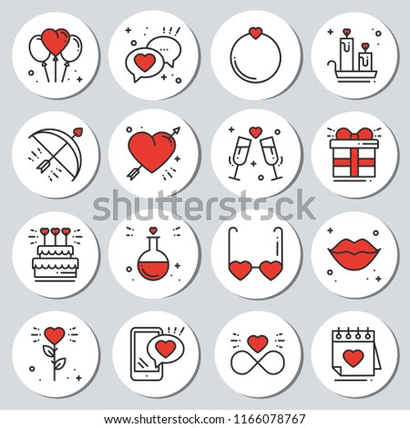 St Valentine's day round printable stickers set. Romantic labels badges. Decorative element. Love signs and symbols. Love, couple, relationship, dating, wedding, holiday, romantic, amour theme