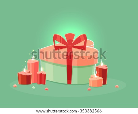 St. Valentines Day Cartoon Background with present and candles