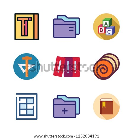 stack icon set. vector set about school material, book, finance book and abc icons set.