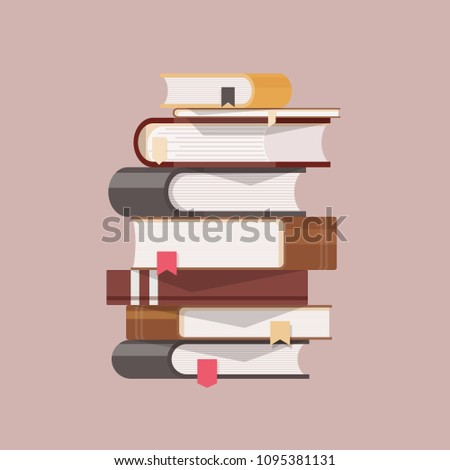 Stack of antique books with hardcovers and bookmarks isolated on light background. Pile of literary works with colorful covers. College education, literature learning, reading. Vector illustration