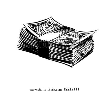Stack Of Bills - Retro Clip Art