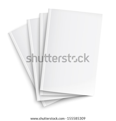 Stack of blank magazines template. on white background with soft shadows. Ready for your design. Vector illustration. EPS10.