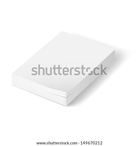 Stack of blank paper.  Illustration on white background