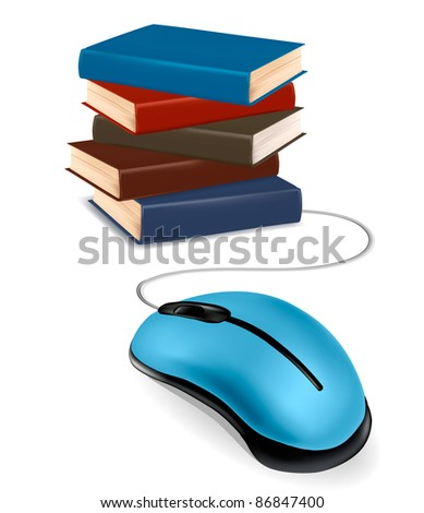 Stack of books and mouse. Online education and business concept.