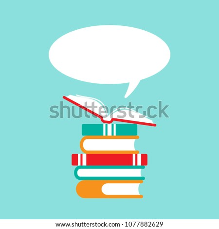 stack of books and open book with orange cover and  speech bubble flying out.  Isolated on powder blue background. Flat reading icon. Vector illustration. quotation logo. tip, hint, prompt sign.