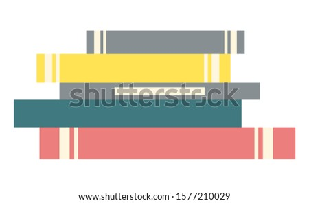 Stack of books. Literature for home or public library for reading interesting stories. Textbooks have hard cover and every different color, yellow and pink, blue and grey. Vector illustration