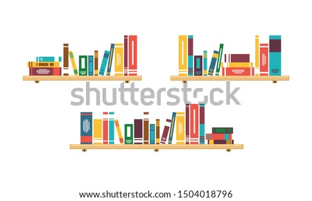 Stack of Books on the wall with bookshelves collection on white background vector illustration Foto stock ©