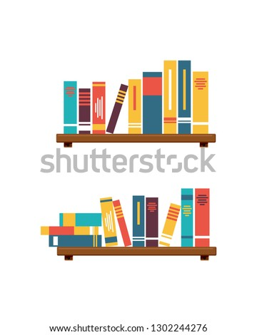 Stack of Books on the wall with bookshelves on white background vector illustration simple design