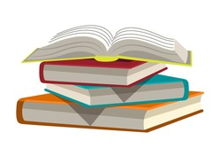 Stack of books, open textbook isolated objects. Knowledge and education. Design element of modern library, bookstore, literature lesson, educational institution vector concept