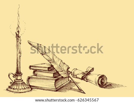 Stack of books, paper, scroll, quill pen and candle. Diploma, certificate, school, study, writing, literature, library design in vintage style