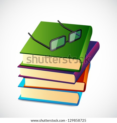 Stack of books with glasses. EPS10 vector