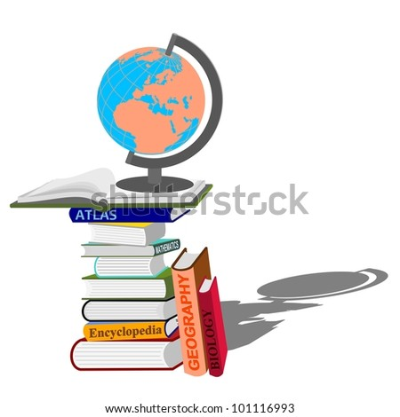 stack of books with  globe on white background - education concept - vector illustration
