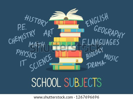 Stack of books with hand written school subjects