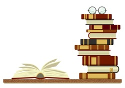 Stack of books with open book and glasses on white background. Knowledge, education, studying background. Vector illustration with place for your text.