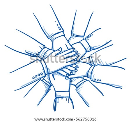 Stack of business hands, concept for teamwork, collaboration. Hand drawn line art cartoon vector illustration.
