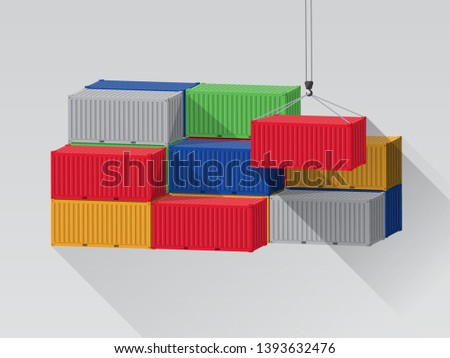 Stack of cargo containers with port crane lift.