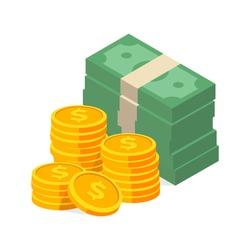 Stack of cash symbol flat style isometric illustration. eps-10 vector illustration.