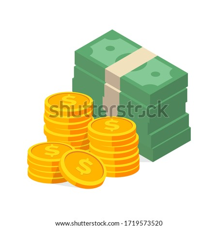 stack of cash symbol flat style