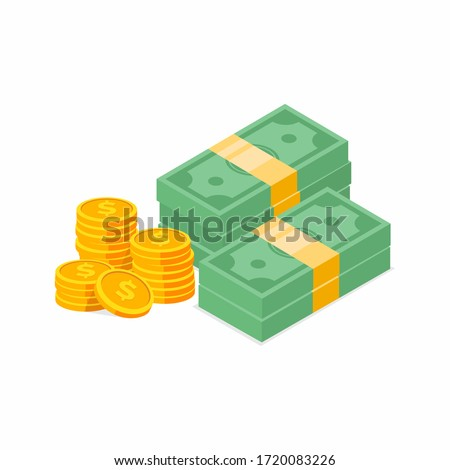 Stack of cash symbol flat style isometric illustration. Gold coins with dollar sign. eps-10 vector illustration.