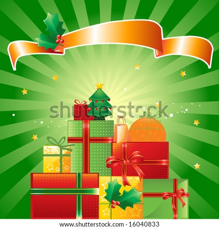 stock vector : stack of Christmas presents, banner and ornaments on shiny green background, vector illustration