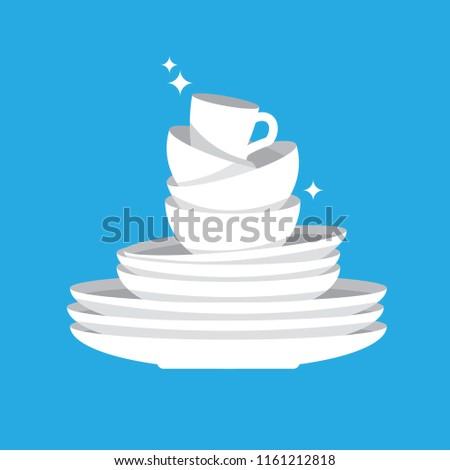 Stack of clean shiny dishes on blue background. White kitchen household cutlery after wash. Detergent label design template. Vector illustration.