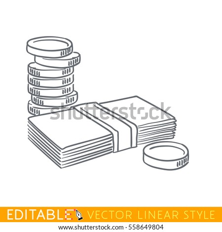 Stack of coins and paper money bundle. Editable line icon. Stock vector illustration.