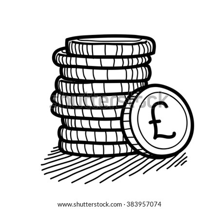 stack of coins doodle  pound