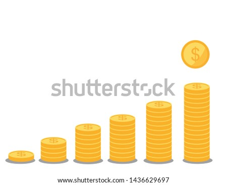 Stack of coins with coin in front of it.stack of coins related color line icon set. Coin colorful linear icons. Money and currency flat color outline vector sign collection.