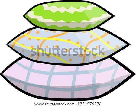 Stack of color pillows. Soft element of furniture and bed. Sleep and rest icon. Cartoon illustration isolated on white