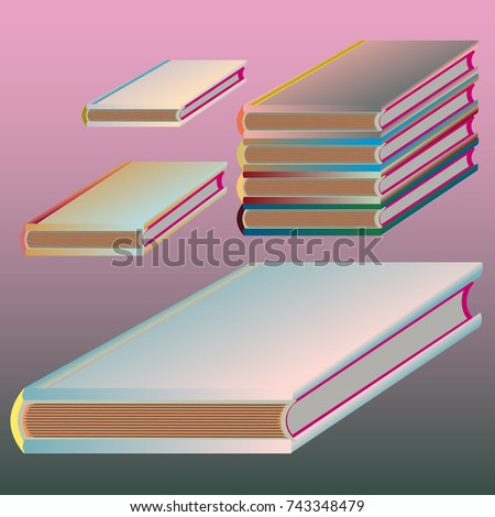 Stack of colored books with empty covers.   EZ Canvas