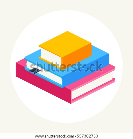 stack of colored close books in ...