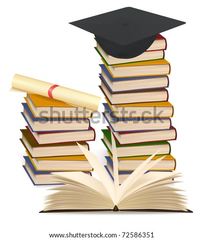 Stack of colorful books and graduation cap . Vector illustration.
