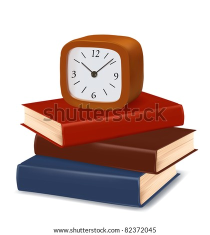 Stack of colorful books and modern clock. Vector. - stock vector