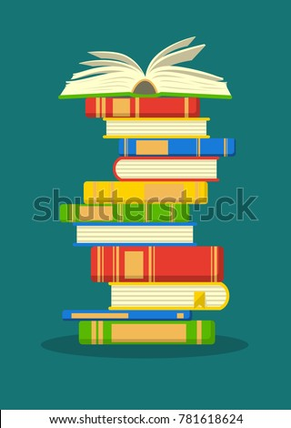 Stack of colorful books with open book on teal background. Education vector illustration.