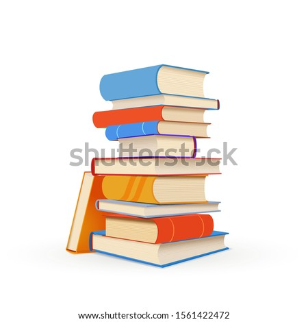 Stack of colorful textbooks isolated on white