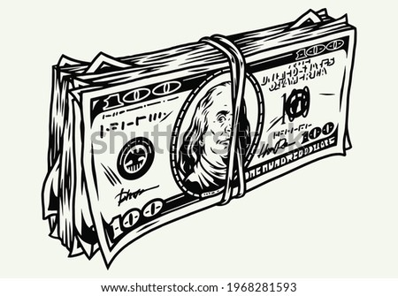 Stack of dollar bills in vintage monochrome style isolated vector illustration