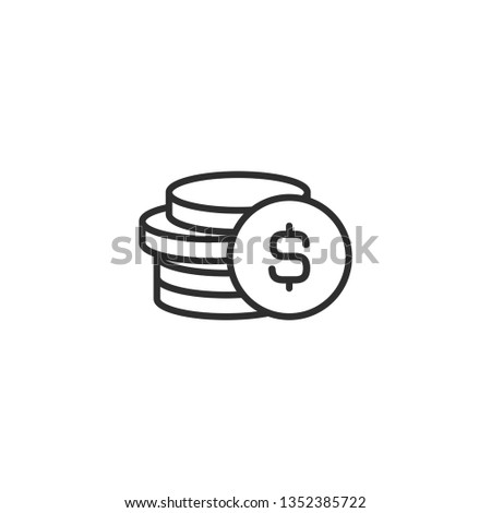 Stack of dollar coins with coin in front of it. Flat black  line icon. Isolated on white. Economy, finance, money pictogram. Wealth symbol.  Vector illustration.