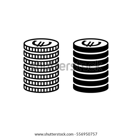 Stack of euro coins. Piled coins with euro signs with different edges. Vector Illustration