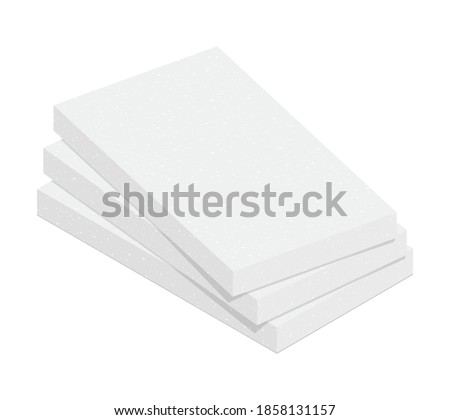 Stack of expanded polystyrene insulation material isolated on white background. Styrofoam board flat vector icon. Vector illustration XPS insulator for heat cold protection. 3D cartoon EPS foam sheets Foto stock ©