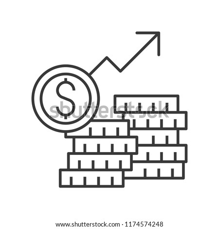 stack of gold coins and arrow rising, inflation or stock market concept icon, editable stroke outline