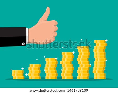 Stack of gold coins and hand with thumb up gesture. Golden coin with dollar sign. Growth, income, savings, investment. Symbol of wealth. Business success. Flat style vector illustration. Stock photo ©