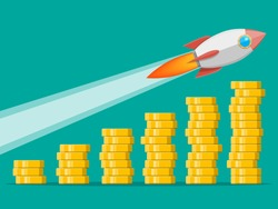 Stack of gold coins and space rocket ship. Golden coin with dollar sign. Growth, income, savings, investment. Symbol of wealth. Business success. Flat style vector illustration.