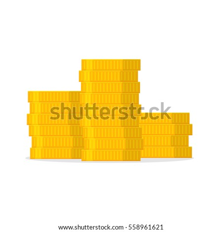 stack of gold coins in a flat