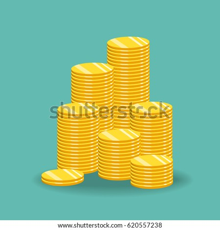 Stack of gold coins. The concept of income or profit. Vector illustration.