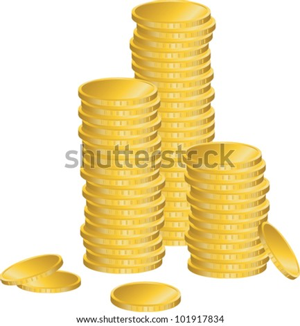Stack of Coins Vector Stack of Gold Coins.vector