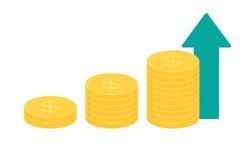Stack of gold dollar coins with green upward pointing arrow. Business growth concept. Flat design vector illustration.