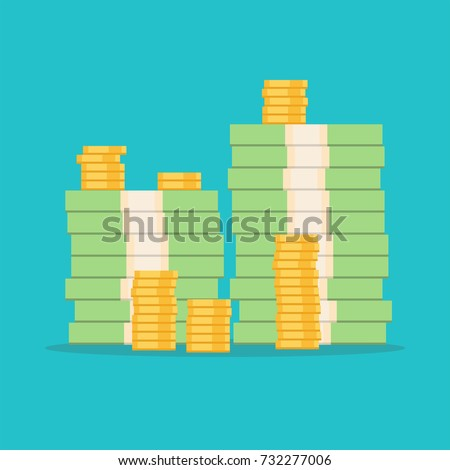 Stack of money dollars. Gold coins. Big pile of cash. Vector illustration.