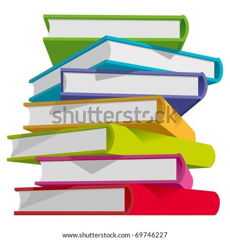 Stack of Multicolor Books on White Background. Vector Illustration
